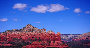 Sedona Red Rock Mountains. Beautiful Sedona Mountains. Coffee Pot Rock is in the middle. It resembles an old world coffee carafe stock photos