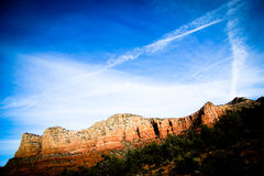 Sedona Red rocks with flat clouds. Sedona red rocks against blue cloudy sky Stock Photography