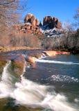 Sedona, roccia della cattedrale dell'Arizona nell'inverno Fotografia Stock