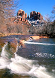 Sedona, roche de cathédrale de l'Arizona en hiver Photographie stock