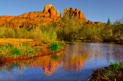 Sedona`s Cathedral Rock viewed from Oak Creek Stock Image