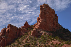 Sedona`s Red Rock Formations. Red sandstone formations jutting upwards from the desert floor Royalty Free Stock Image