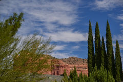 Sedona`s Red Rock Formations. Red sandstone formations jutting upwards from the desert floor Royalty Free Stock Photo