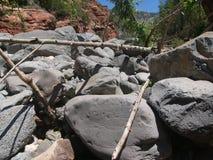 Sedona Slide Rock Area. Boulders block river at slide rock area in sedona, az Royalty Free Stock Photography