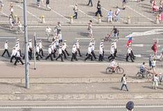 Sedov sailing ship crew parade. Stock Photos