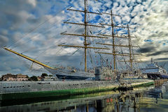 Sedov sailing ship, submarine and ship Stock Photos