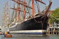 The Sedov tall ship docked. Royalty Free Stock Image