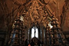 Dark Human bone church. Seduce ossuary at kit a hora, Czech stock photography