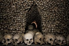 Dark Human bone church. Seduce ossuary at kit a hora, Czech stock image