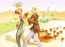Seducer. A street vendor offers mechanical hearts to a woman Royalty Free Stock Photography