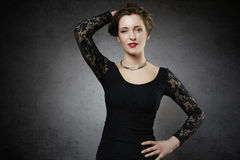 Seducing woman in black lace dress Royalty Free Stock Photo