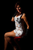 Seducing young woman sitting on bar chair Stock Images