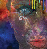 Seduction. Womans face with various elements Stock Images