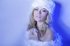 Seductive beautiful woman in winter blue Royalty Free Stock Photography