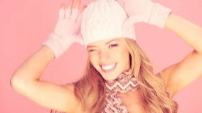 Seductive Blond In Winter Outfit stock video