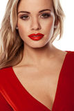Seductive Blonde In Red Dress Stock Photos