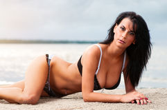 Seductive brunette on the beach Stock Photography