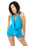 Seductive brunette in blue dress Royalty Free Stock Photography