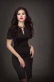 Seductive brunette girl. Seductive brunette in a black dress Royalty Free Stock Photography