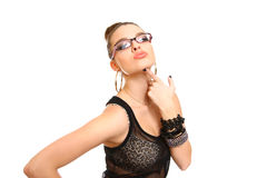 Seductive brunette girl with glasses isolated on white Royalty Free Stock Photography