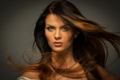 Seductive brunette woman royalty free stock photos