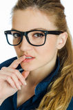 Seductive business woman in glasses Stock Images
