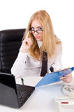 Seductive businesswoman in glasses Stock Images
