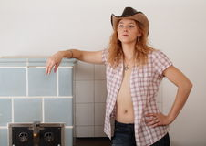 Seductive cowboy girl Stock Image