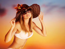 Seductive female on the beach Stock Photo