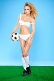 Seductive Female Soccer Player in Sexy Outfit Stock Images