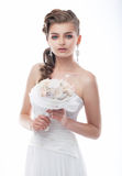 Seductive fiancee young woman in bridal dress Royalty Free Stock Images