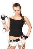 Seductive girl with handcuffs Stock Photography