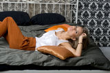 Seductive girl lying on bed Royalty Free Stock Photo