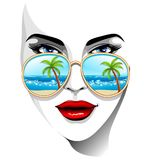 Girl Portrait with Summer Sunglasses. Seductive Girl Portrait with dreamy Eyes, looking beyond her summer sunglasses, on which ocean, palmtrees, sand, are Stock Images