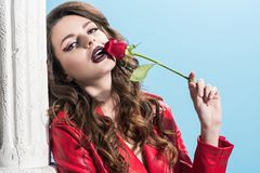 Seductive girl touching mouth with red rose. Isolated on blue valentines day concept royalty free stock photos