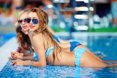 Seductive girls enjoy summer in pool Stock Images