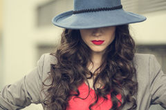 Seductive glamorous brunette wearing stylish clothes posing Stock Images