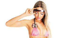 Seductive lady with sunglasses Royalty Free Stock Image