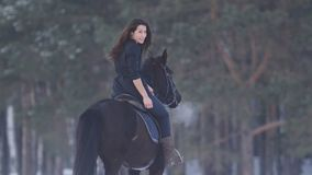 Seductive longhaired female rider riding a black horse through the deep drifts in the countryside, rear view stock photography