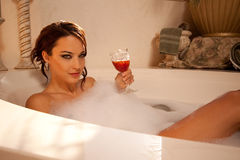 Seductive look from the bath. Stunning look from this beauty in the bath Royalty Free Stock Photos