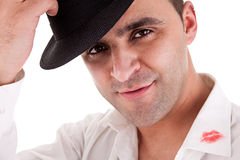 Seductive man greeting with his hat, Royalty Free Stock Photo