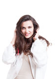 Seductive medic or doctor in medical coat. Smiling on white studio background stock images