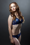 Seductive model posing in blue lingerie Stock Photo