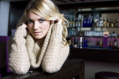 Seductive Pretty Woman Wearing Knit Jacket Royalty Free Stock Photography
