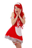 Seductive red-headed servant girl with shocked face. Over white royalty free stock photo