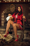 Seductive Red Riding Hood Stock Photo