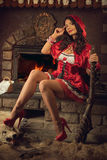 Seductive Red Riding Hood Royalty Free Stock Images