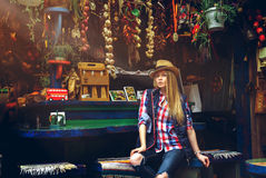 Seductive stylish blonde with blue eyes posing Royalty Free Stock Image