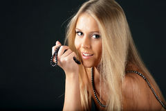 Seductive woman with pearl necklace Royalty Free Stock Photos