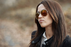 Seductive woman portrait in sunglasses Royalty Free Stock Images